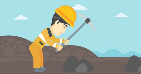 An asian miner  working with a pickaxe. Mine worker in hard hat. Miner at the coal mine. Vector flat design illustration. Horizontal layout. Illustration