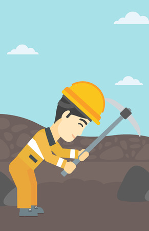 An asian miner  working with a pickaxe. Mine worker in hard hat. Miner at the coal mine. Vector flat design illustration. Vertical layout.