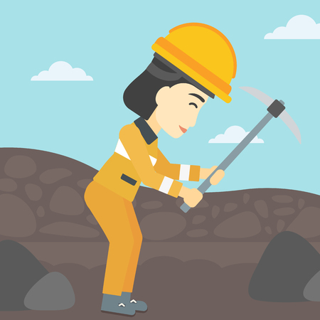 coal mine: An asian female miner  working with a pickaxe. Mine worker in hard hat. Miner at the coal mine. Vector flat design illustration. Square layout.