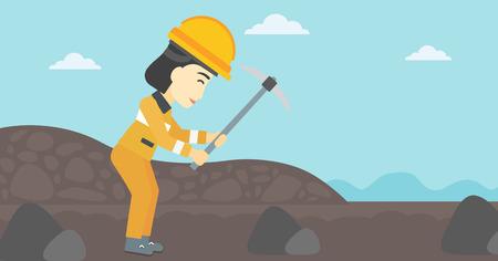 Een Aziatische vrouwelijke mijnwerker het werken met een pikhouweel. Mijnwerker in bouwvakker. Mijnwerker bij de kolenmijn. Vector platte ontwerp illustratie. Horizontale lay-out. Stock Illustratie