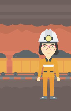Un minero de carbón asiático confianza. Un minero de la mujer en el casco con linterna. Miner permanente en el fondo del túnel de la mina con el carro lleno de carbón. Vector de diseño plano ilustración. disposición vertical.
