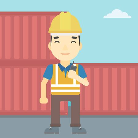 An asian port worker talking on wireless radio. Port worker standing on cargo containers background. Man using wireless radio. Vector flat design illustration. Square layout.