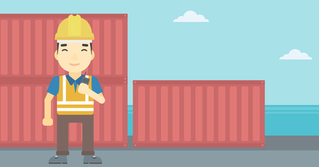 port: An asian port worker talking on wireless radio. Port worker standing on cargo containers background. Man using wireless radio. Vector flat design illustration. Horizontal layout.