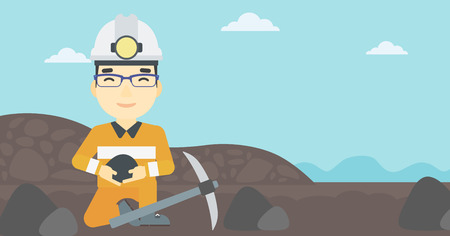pickaxe: An asian miner  in hard hat sitting with coal in hands and a pickaxe on the background of coal mine. Vector flat design illustration. Horizontal layout. Illustration