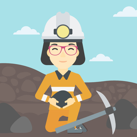 quarry: An asian female miner  in hard hat sitting with coal in hands and a pickaxe on the background of coal mine. Vector flat design illustration. Square layout.