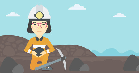 pickaxe: An asian female miner  in hard hat sitting with coal in hands and a pickaxe on the background of coal mine. Vector flat design illustration. Horizontal layout. Illustration