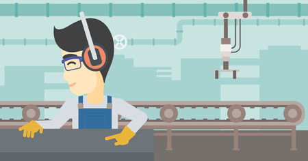 metal worker: An asian man working on metal press machine. Worker in headphones operating metal press machine at factory workshop. Vector flat design illustration. Horizontal layout.
