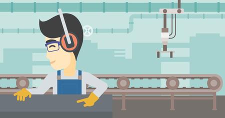 An asian man working on metal press machine. Worker in headphones operating metal press machine at factory workshop. Vector flat design illustration. Horizontal layout.
