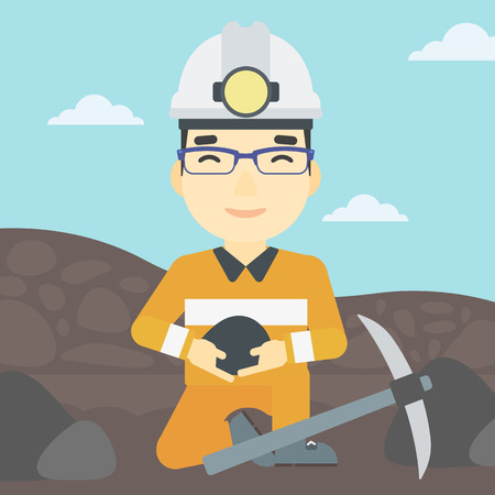 coal mine: An asian miner  in hard hat sitting with coal in hands and a pickaxe on the background of coal mine. Vector flat design illustration. Square layout. Illustration