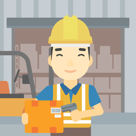 An asian warehouse worker scanning barcode on box. Warehouse worker checking barcode of box with a scanner. Man in hard hat with scanner. Vector flat design illustration. Square layout. Ilustracja