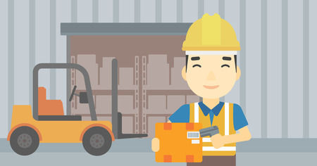 An asian warehouse worker scanning barcode on box. Warehouse worker checking barcode of box with a scanner. Man in hard hat with scanner. Vector flat design illustration. Horizontal layout. Illustration