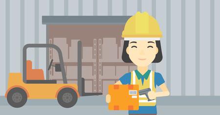 Un asiatique ouvrier d'entrepôt numérisation code à barres sur la boîte. Entrepôt travailleur vérifier code-barres de la boîte avec un scanner. Femme au chapeau dur avec scanner. Vector design plat illustration. Présentation horizontale.
