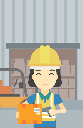 warehouse worker: An asian warehouse worker scanning barcode on box. Warehouse worker checking barcode of box with a scanner. Woman in hard hat with scanner. Vector flat design illustration. Vertical layout.
