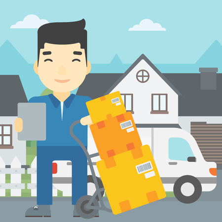 troley: An asian delivery man with cardboard boxes on troley. Delivery man with clipboard. Man standing in front of delivery van. Vector flat design illustration. Square layout.