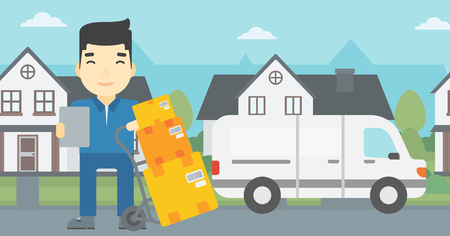 troley: An asian delivery man with cardboard boxes on troley. Delivery man with clipboard. Man standing in front of delivery van. Vector flat design illustration. Horizontal layout. Illustration