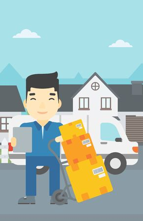 to unload: An asian delivery man with cardboard boxes on troley. Delivery man with clipboard. Man standing in front of delivery van. Vector flat design illustration. Vertical layout.