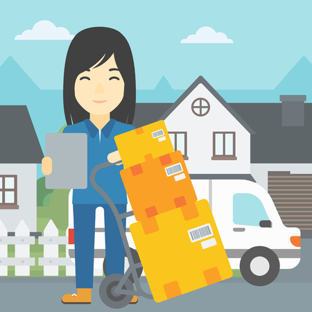 troley: An asian delivery woman with cardboard boxes on troley. Delivery woman with clipboard. Woman standing in front of delivery van. Vector flat design illustration. Square layout. Illustration