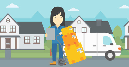 to unload: An asian delivery woman with cardboard boxes on troley. Delivery woman with clipboard. Woman standing in front of delivery van. Vector flat design illustration. Horizontal layout. Illustration