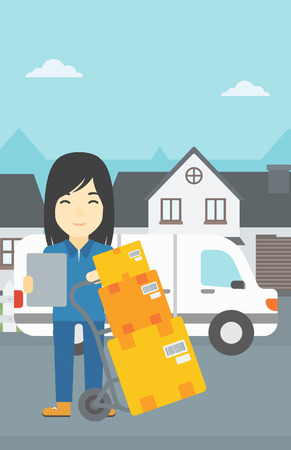 troley: An asian delivery woman with cardboard boxes on troley. Delivery woman with clipboard. Woman standing in front of delivery van. Vector flat design illustration. Vertical layout.