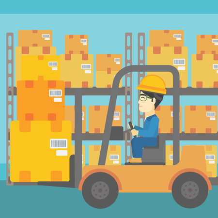 warehouse worker: An asian warehouse worker loading cardboard boxes. Forklift driver at work in storehouse. Warehouse worker driving forklift at warehouse. Vector flat design illustration. Square layout.
