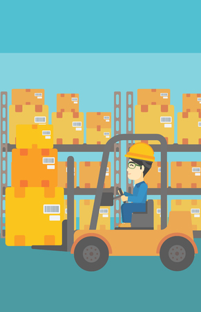 warehouse worker: An asian warehouse worker loading cardboard boxes. Forklift driver at work in storehouse. Warehouse worker driving forklift at warehouse. Vector flat design illustration. Vertical layout.