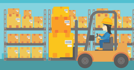 An asian warehouse worker loading cardboard boxes. Forklift driver at work in storehouse. Warehouse worker driving forklift at warehouse. Vector flat design illustration. Horizontal layout. Illustration