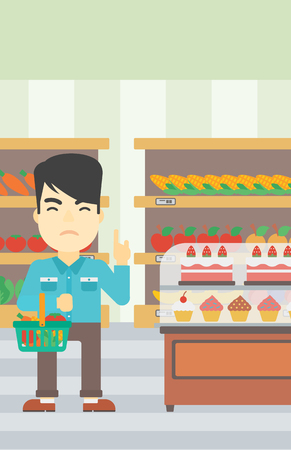 poor diet: An asian young man holding basket full of healthy food and refusing junk food. Man rejecting junk food in supermarket. Man choosing healthy food. Vector flat design illustration. Vertical layout.