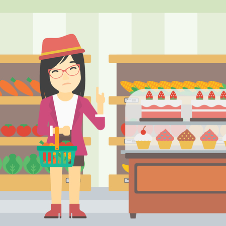 refusing: An asian young woman holding basket with healthy food and refusing junk food. Woman choosing healthy food and rejecting junk food in supermarket. Vector flat design illustration. Square layout.