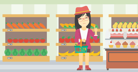 refusing: An asian young woman holding basket with healthy food and refusing junk food. Woman choosing healthy food and rejecting junk food in supermarket. Vector flat design illustration. Horizontal layout.