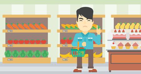 refusing: An asian young man holding basket full of healthy food and refusing junk food. Man rejecting junk food in supermarket. Man choosing healthy food. Vector flat design illustration. Horizontal layout.