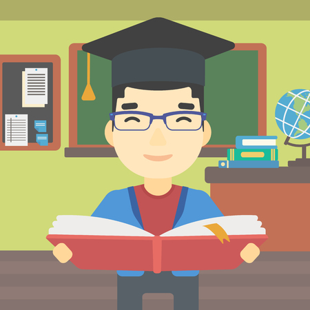 graduate asian: An asian graduate in graduation cap with an open book in hands. Young man reading book on the background of classroom. Vector flat design illustration. Square layout.
