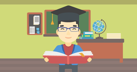 graduate asian: An asian graduate in graduation cap with an open book in hands. Young man reading book on the background of classroom. Vector flat design illustration. Horizontal layout.