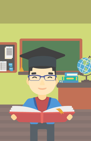 graduate asian: An asian graduate in graduation cap with an open book in hands. Young man reading book on the background of classroom. Vector flat design illustration. Vertical layout.