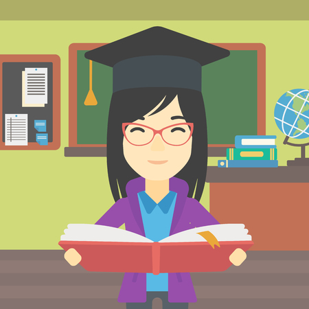 An asian graduate in graduation cap with an open book in hands. Young woman reading book on the background of classroom. Vector flat design illustration. Square layout. 矢量图像
