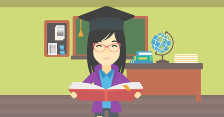 woman reading book: An asian graduate in graduation cap with an open book in hands. Young woman reading book on the background of classroom. Vector flat design illustration. Horizontal layout.