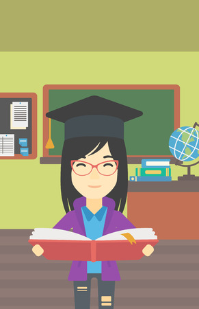 woman reading book: An asian graduate in graduation cap with an open book in hands. Young woman reading book on the background of classroom. Vector flat design illustration. Vertical layout. Illustration