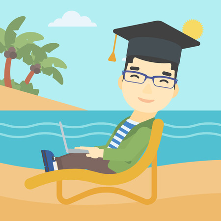 graduate asian: An asian happy graduate lying in chaise long. Young man in graduation cap working on laptop. Graduate on a beach. Vector flat design illustration. Square layout.