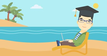 graduate asian: An asian happy graduate lying in chaise long. Young man in graduation cap working on laptop. Graduate on a beach. Vector flat design illustration. Horizontal layout.
