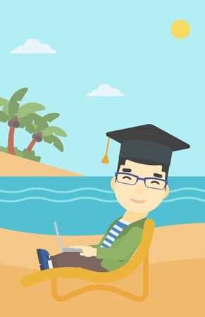 graduate asian: An asian happy graduate lying in chaise long. Young man in graduation cap working on laptop. Graduate on a beach. Vector flat design illustration. Vertical layout.