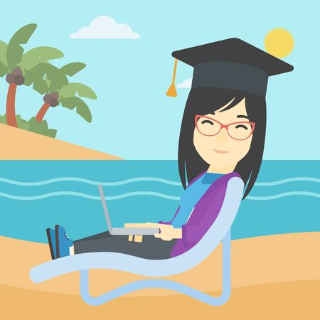 graduate asian: An asian happy graduate lying in chaise long. Young woman in graduation cap working on laptop. Graduate on a beach. Vector flat design illustration. Square layout.