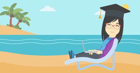 graduate asian: An asian happy graduate lying in chaise long. Young woman in graduation cap working on laptop. Graduate on a beach. Vector flat design illustration. Horizontal layout.