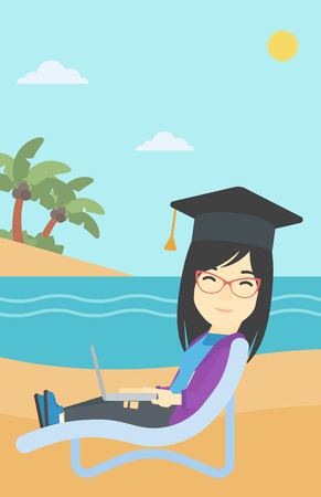 graduate asian: An asian happy graduate lying in chaise long. Young woman in graduation cap working on laptop. Graduate on a beach. Vector flat design illustration. Vertical layout.