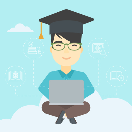 graduate asian: An asian happy graduate sitting on the cloud. Graduate working on laptop. Education technology and graduation concept. Vector flat design illustration. Square layout.