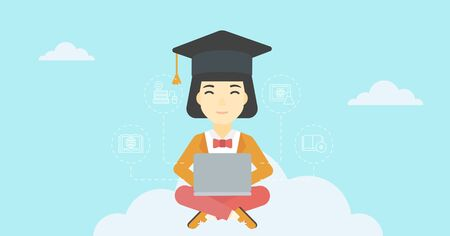 graduate asian: An asian happy graduate sitting on the cloud. Graduate working on laptop. Education technology and graduation concept. Vector flat design illustration. Horizontal layout.