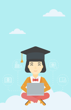 graduate asian: An asian happy graduate sitting on the cloud. Graduate working on laptop. Education technology and graduation concept. Vector flat design illustration. Vertical layout.