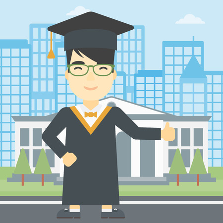 cloak: An asian happy graduate in cloak and graduation cap. A graduate giving thumb up. Graduate celebrating on a background of educational building. Vector flat design illustration. Square layout.