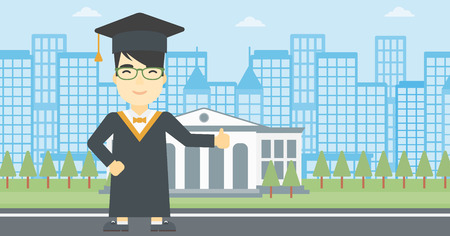 An asian happy graduate in cloak and graduation cap. A graduate giving thumb up. Graduate celebrating on a background of educational building. Vector flat design illustration. Horizontal layout. Ilustração