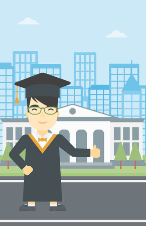 cloak: An asian happy graduate in cloak and graduation cap. A graduate giving thumb up. Graduate celebrating on a background of educational building. Vector flat design illustration. Vertical layout.