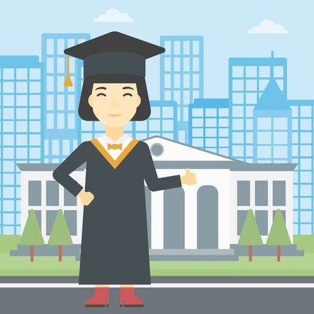 graduate asian: An asian happy graduate in cloak and graduation cap. A female graduate giving thumb up. Graduate celebrating on a background of educational building. Vector flat design illustration. Square layout.