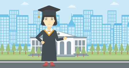 graduate asian: Asian happy graduate in cloak and graduation cap. A female graduate giving thumb up. Graduate celebrating on a background of educational building. Vector flat design illustration. Horizontal layout.